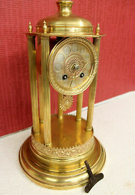 Antique Mantel Clock Pillars Clock in Brass 1910's Germany Clock *Pfeilkreutz*