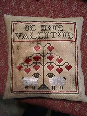Primitive ~ Be Mine Valentine ~ Early Look Cross Stitch Pillow ~ Seasonal ~Heart