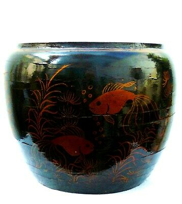 Vintage Chinese Lacquered & Painted Bamboo Vase Bowl Jardiniere Fish Bowl Design