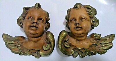 PAIR OF CARVED WOODEN CHERUBS Gothic Vintage Ornaments Angels Wall Antique Style