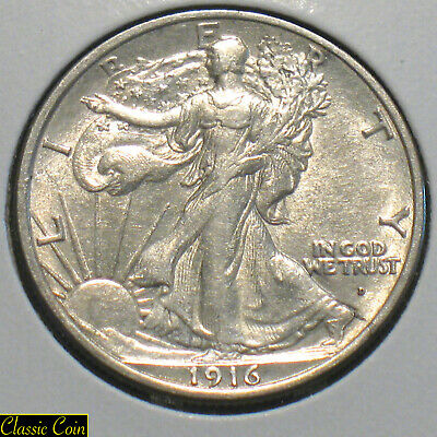 1916-D Silver Walking Liberty Half Dollar 50c AU++ Details Some Luster Nice Coin