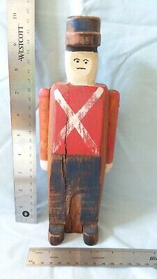 10 inch Primitive Wood Soldier with Movable Arms (with wooden pegs)