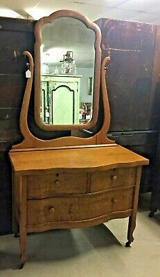Vintage Oak Low Boy Chest Princess Dresser Oval Beveled Mirror