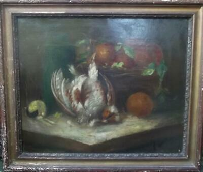 FRENCH OLD MASTER  Antique Still Life Oil Painting Monogram Signed 19th Century