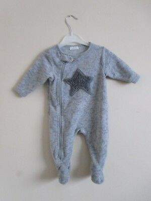 Next Baby All In One Suit. Age 0-3 Months. Boys Girls Soft Grey Next Suit