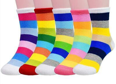 Little Girls Socks Cotton Strips Comfort Thick 5 Pair Pack 6-8 years, A