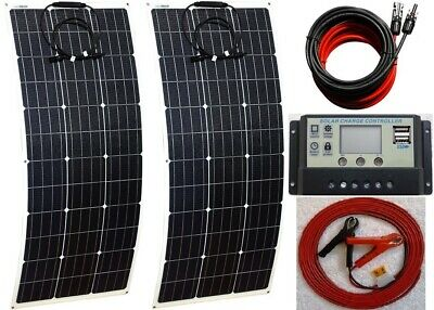2x 100w = 200w Flexible Solar Panel + 20A LCD 12V 24V charger USB + 6m cable Kit