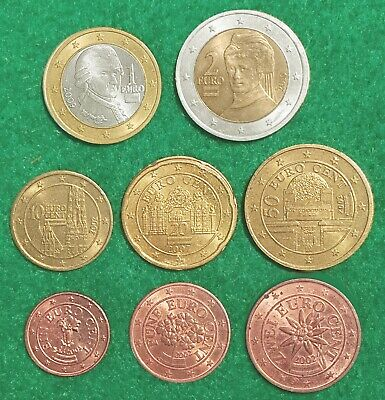 AUSTRIA:-  Type set of 8 different, Early 21st. century  EUROZONE   coins. JP080