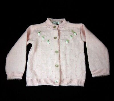 Baby Girl Pink & White Turbo Sweater Vintage 1960s Acrylic Orlon 12-18 Months