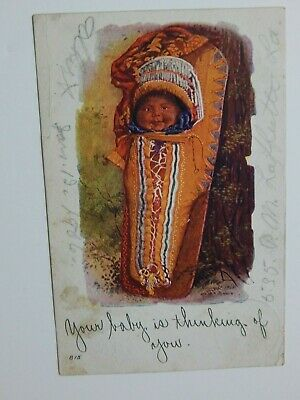 Vintage 1900s Baby in Papoose Thinking of you Embossed Postcard