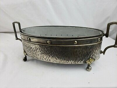 Superb antique French? Art Nouveau metal handled serving dish ca. 1920s 15""