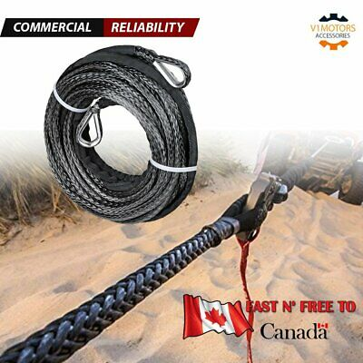 "50' x 1/4"" Synthetic Winch Rope 7,500LBS BLACK Extension Recovery Line ATV UTV"