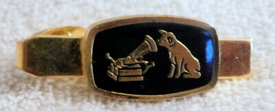 """Vintage """"His Masters Voice"""" Tie Clip Featuring """"Nipper"""" - Gold With Black Enamel"""