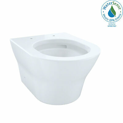 Toto MH Wall-Hung D-Shape Dual-Flush 1.28 and 0.9 GPF Toilet Bowl with CeFiON...