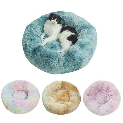 Cat Pet Dog Calming Bed Beds Large Fluffy Washable Puppy Comfy Mat Plush Cushion