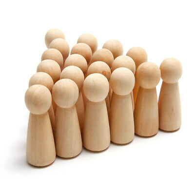 20 Wooden Wood Peg Dolls Little People Baby Child Peg Doll Kids Toy Crafts