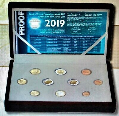Griechenland Proof KMS 2019 mit 3 x 2 Euro -Stier + A. Kalvos + M. Andronikos PP