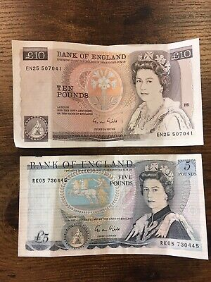 Bank of England Old Ten Pound & Five Pound Note (One Uncirculated)Good Condition