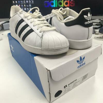 Adidas Originals Mens Superstar Size Uk 9 White Trainers Shoes Used With Defect