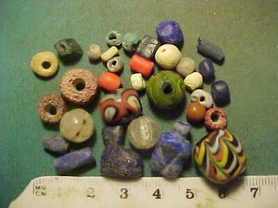 30+ ancient beads circa 1000 BC-1700 AD + An Egyptian  cat amulet