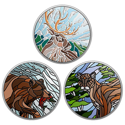 2018 Canadian Mosaics 1 oz Pure Silver 3 Coin Series: Caribou, Cougar & Grizzly