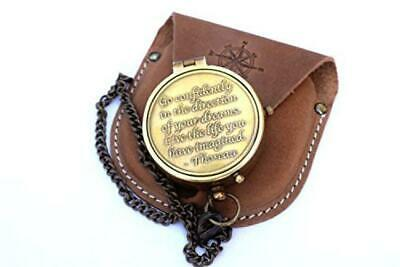 NEOVIVID Brass Compass Engraved with Thoreau's Go Confidently Quote and...