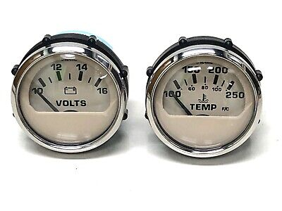 "Faria White SIlver Boat Pontoon Marine 80 PSI Oil Pressure 2/"" Gauge GPC607B New!"