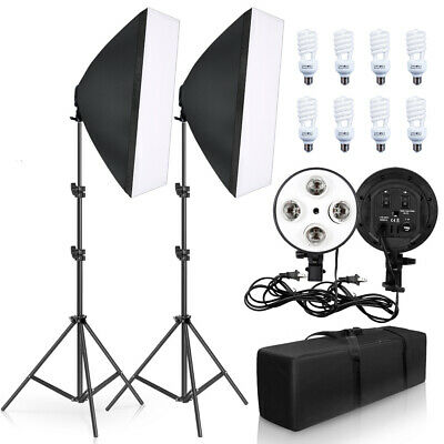 Professional Photography Lighting Kit 50x70CM Four Lamp Softbox Holder 8P Bulb