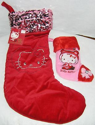 """Hello Kitty Cloth Patchwork Holiday 16/"""" Christmas Stocking NEW"""