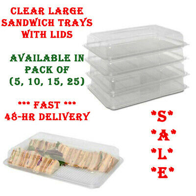Clear Large Plastic Platter Serving Trays With Lids Food Sandwich Party Catering