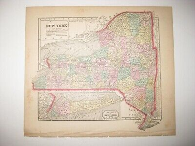 Antique 1857 New York & City Suffolk County Long Island Handcolored Map Railroad