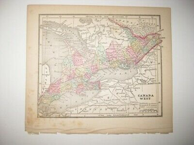 Early Fine Antique 1857 Canada Handcolored Map Toronto Ontario Railroad Canal Nr
