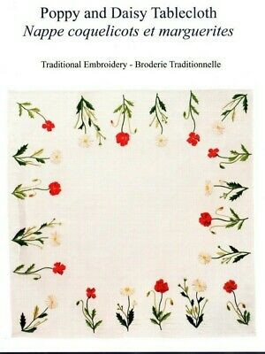 *** Dmc Home Poppies & Daisies Flowers Embroidery Tablecloth Kit