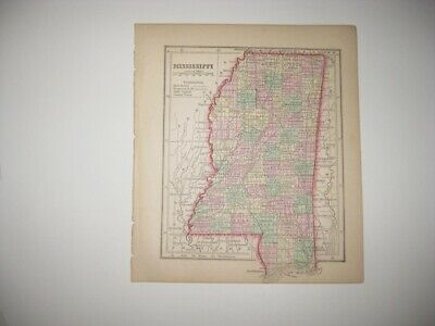Early Rare Antique 1857 Mississippi Handcolored Map Railroad Jackson Fine Nr