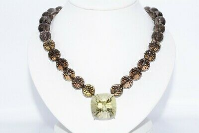 $4,100 503.50Ct Natural Brown Smoky & Lemon Quartz Hanging Statement Necklace
