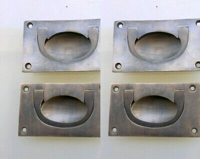4 heavy RECESSED pulls handles BOX antique solid brass vintage old replace drawB