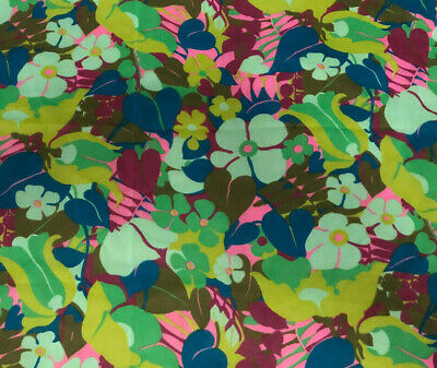 Authentic Vintage 1960's 1970's Tropical Hawaiian Wild Flowers Retro Mod Fabric!