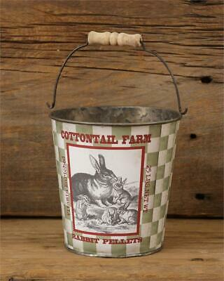 New Primitive Country Vintage Green BUNNY RABBIT FEED BUCKET Basket Pail