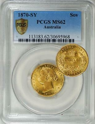 Australia 1870-SY Gold 1 Sovereign PCGS MS-62 - Rare in UNC!