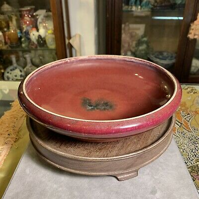 Chinese Antique Flambe Oxblood Porcelain Brush Washer Bowl Plate Form LARGE
