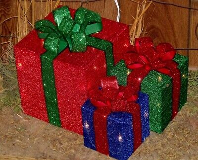 Christmas Holiday Outdoor Lighted Red Bows Presents Gift Boxes Set Yard Decor 3