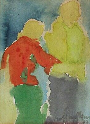 Abstract Naive Vintage Mid Century Modern Watercolor Painting Meyers Couple 1963