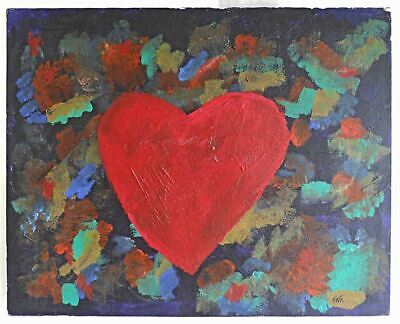 Vintage Folk Art Outsider Painting Big Red Heart Floating  Sea Abstract Tate
