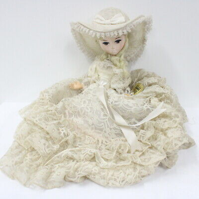 Vintage Webb Porcelain Doll In Lace Dress & Hat With Blonde Hair #519