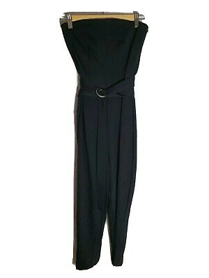 WITCHERY Size 4 Strapless Black Belt Buckle Playsuit
