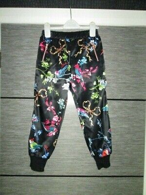 Girls Ted Baker Black Satin Bird Print Trousers Age 6-7 Yrs Vgc