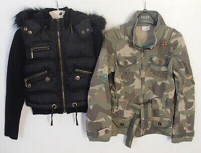 2 x Girls Alibi & Next Short Black Coat Hooded Jacket Next Green Age 9-10 Bundle