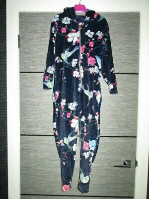 Girls Ted Baker Navy Floral Velour All-In-One Age 9-10 Yrs Vgc