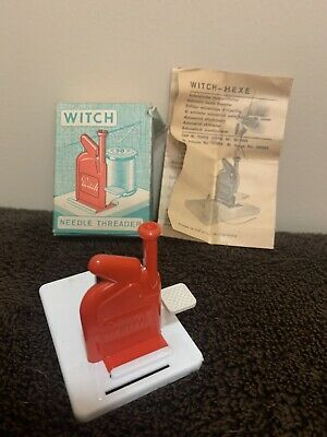 Vintage 2 Piece Witch Automatic Needle Threader w/ lnstructions Western Germany