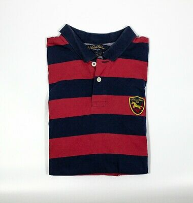 Brooks Brothers Slim Fit Polo Shirt Blue/Red Striped Cotton Patch Logo Mens Sz L